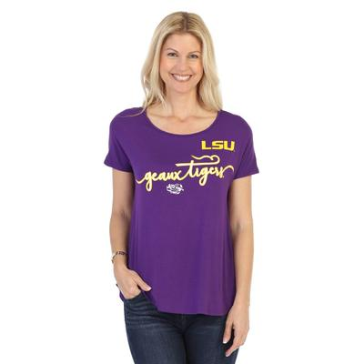LSU P. Michael Script Print Scoop Neck Top