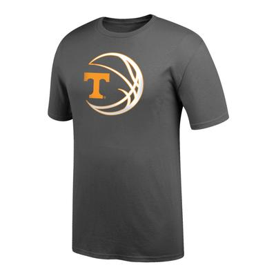 Tennessee Logo in Basketball Tee Shirt GRAPHITE