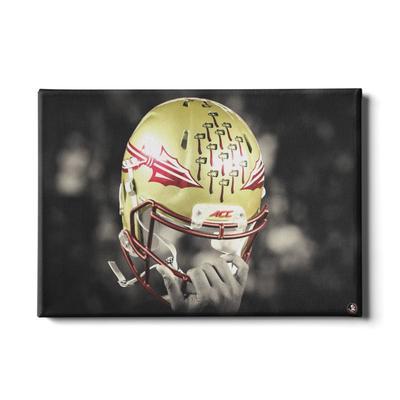 FSU 24x16 Seminole Helmet Held High Canvas