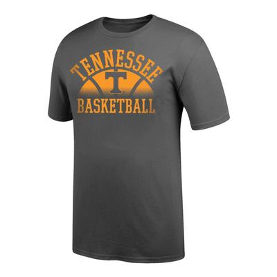 Tennessee Arch with Fading Basketball Tee Shirt GRAPHITE