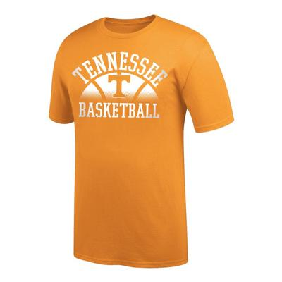 Tennessee Arch with Fading Basketball Tee Shirt TN_ORG