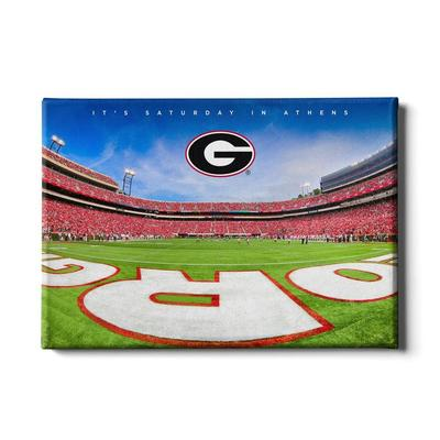 Georgia 24x16 It's Saturday in Athens End Zone Canvas