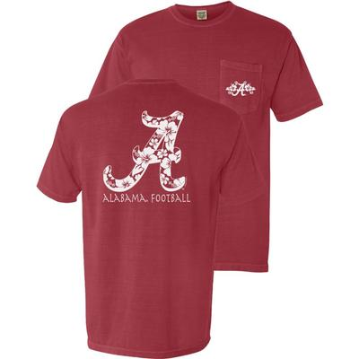 Alabama Hawaiian Script A Comfort Colors Pocket Tee