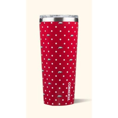 Arkansas Corkcicle 24oz Polka Dot Tumbler