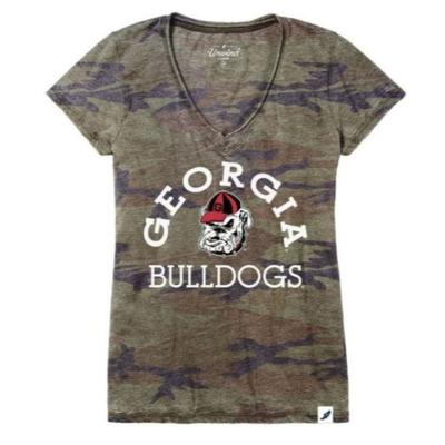 Georgia League Distressed V-Neck Tee