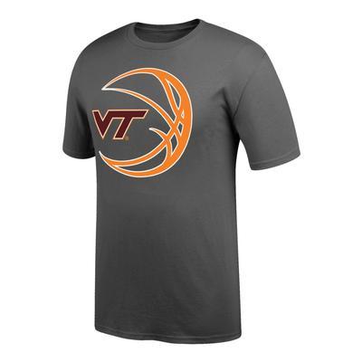 Virginia Tech VT Logo in Basketball Tee Shirt GRAPHITE