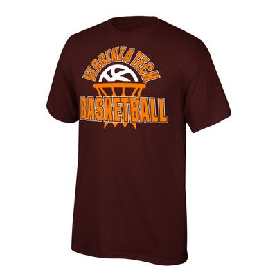 Virginia Tech Youth Arch with Basketball in Net Tee Shirt MAROON
