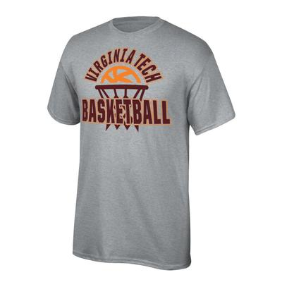 Virginia Tech Youth Arch with Basketball in Net Tee Shirt OXFORD