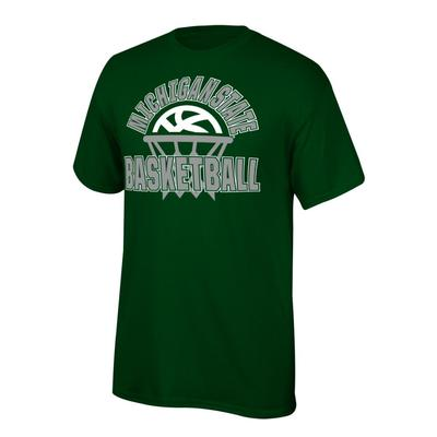 Michigan State Youth Arch with Basketball in Net Tee Shirt