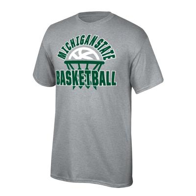 Michigan State Youth Arch with Basketball in Net Tee Shirt OXFORD
