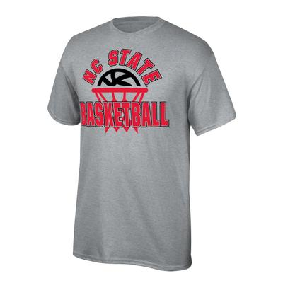 NC State Youth Arch with Basketball in Net Tee Shirt OXFORD