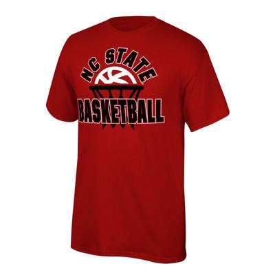 NC State Youth Arch with Basketball in Net Tee Shirt RED