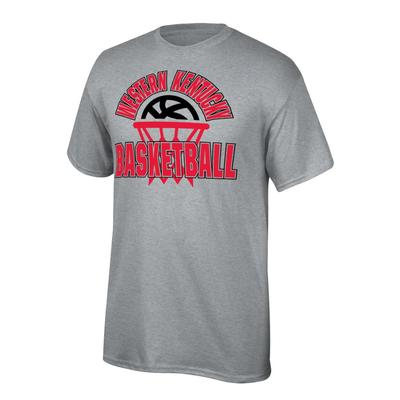 Western Kentucky Youth Arch with Basketball in Net Tee Shirt OXFORD