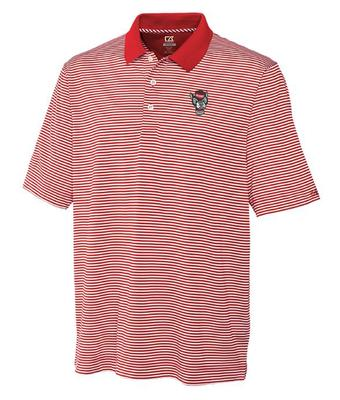 NC State Cutter & Buck Trevor Stripe Polo CARD_RED/WHT