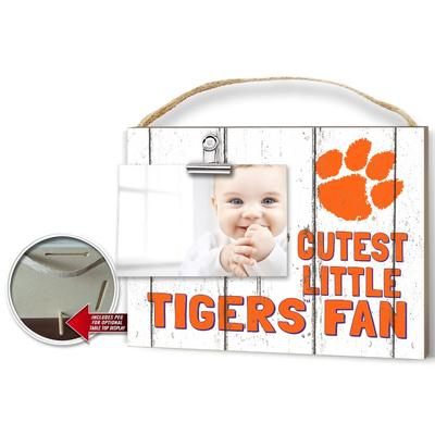 Clemson Cutest Little Fan Weathered Logo Clip It