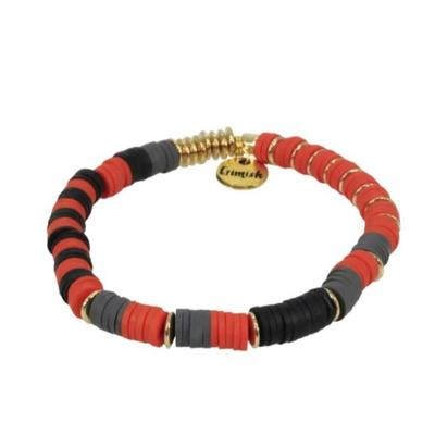 Erimish Red, Black, and Grey Ann Stackable Bracelet