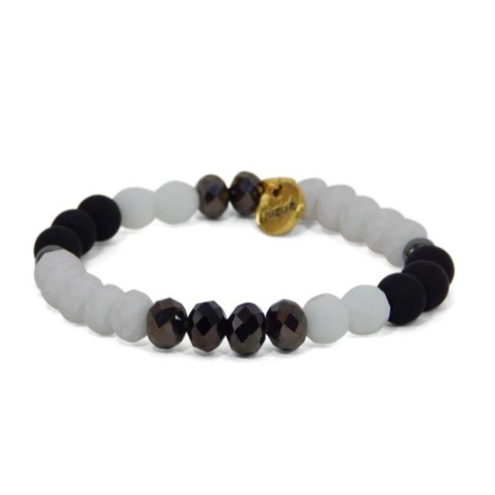 Erimish Black And White Bryant Stackable Bracelet