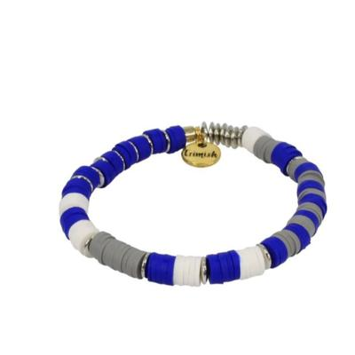 Erimish Blue, White, and Grey Madison Stackable Bracelet
