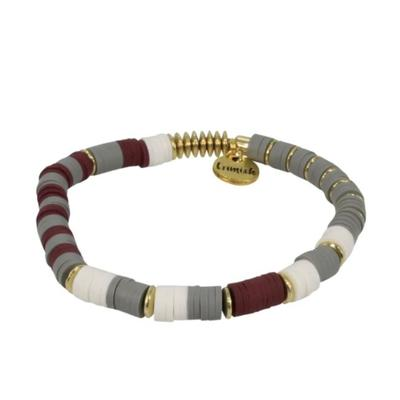 Erimish Crimson, White, and Grey Carla Stackable Bracelet