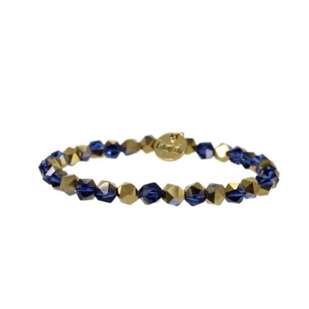 Erimish Navy And Gold Riley Stackable Bracelet