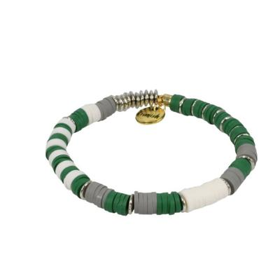 Erimish Green, White, and Grey Ella Stackable Bracelet