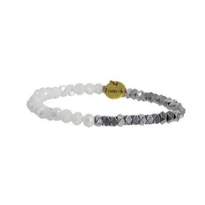 Erimish Silver and White Gamer Stackable Bracelet