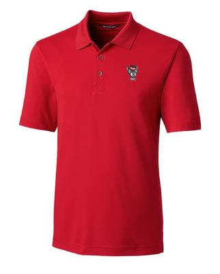 NC State Cutter And Buck DryTec Wolf Logo Forge Polo CARD_RED