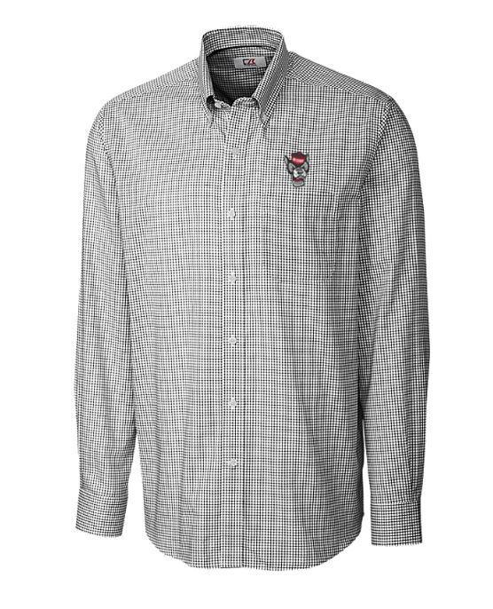 Nc State Cutter And Buck Tattersall Woven Dress Shirt