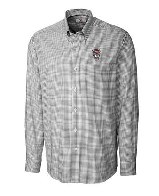 NC State Cutter And Buck Tattersall Woven Dress Shirt