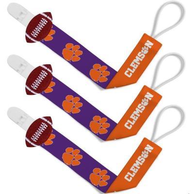 Clemson Pacifier Clip 3 Pack