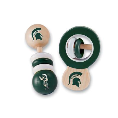 Michigan State Wood Baby Rattle
