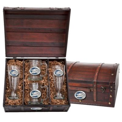 Heritage Pewter Blue Alligator Beer Chest Set