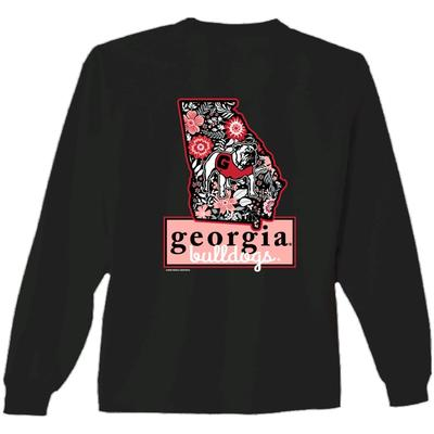 Georgia Women's State Floral L/S Tee