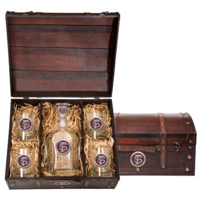 FSU Heritage Pewter Garnet Decanter Chest Set