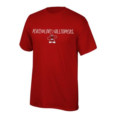 Western Kentucky Youth Peace Love Hilltoppers Tee Shirt
