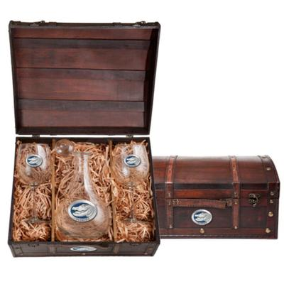 Heritage Pewter Blue Alligator Wine Chest Set