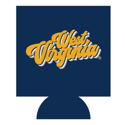 West Virginia Retro Script Koozie