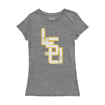 LSU Tri-Blend Crew Interlock Top