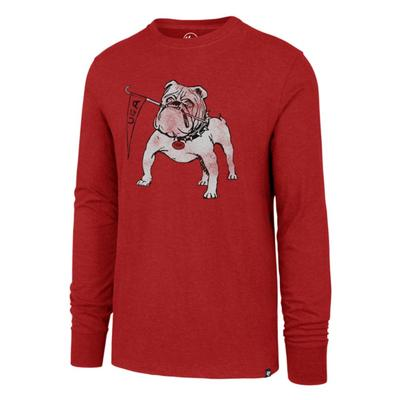 Georgia Bulldog with Flag Club L/S Tee