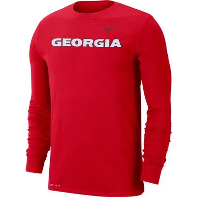 Georgia Nike Dri-FIT Cotton Long Sleeve T-Shirt