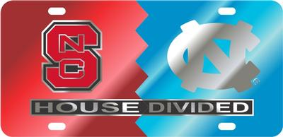 House Divided NC State/UNC License Plate
