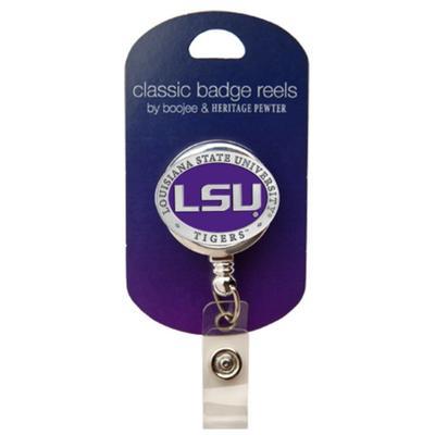 LSU Heritage Pewter Purple Badge Reel