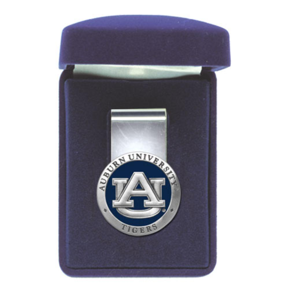 Auburn Heritage Pewter Blue Money Clip