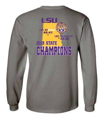 2019 LSU Football Alabama State Champions Long Sleeve Score Tee