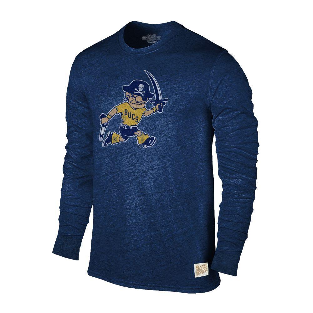 Etsu Retro Brand Streaky Triblend Long Sleeve T- Shirt