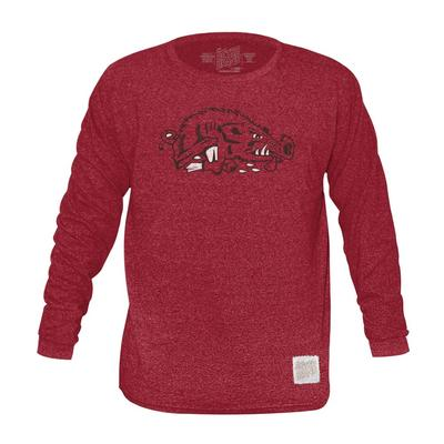 Arkansas Retro Brand Mock Twist Triblend Long Sleeve T-Shirt
