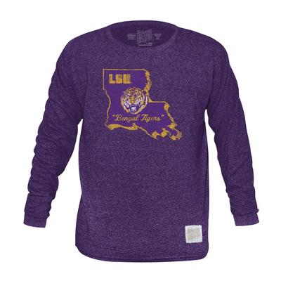 LSU Retro Brand Mock Twist Triblend Long Sleeve T-Shirt