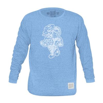 UNC Retro Brand Mock Twist Triblend Long Sleeve T-Shirt