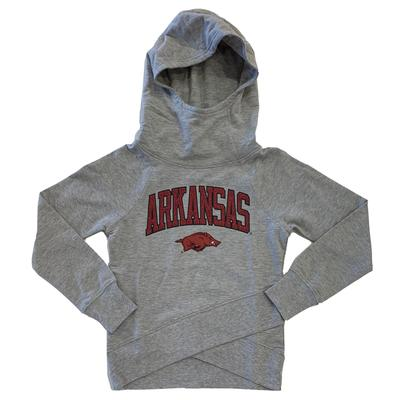 Arkansas Girls Funnel Neck Hooded Long Sleeve Tee