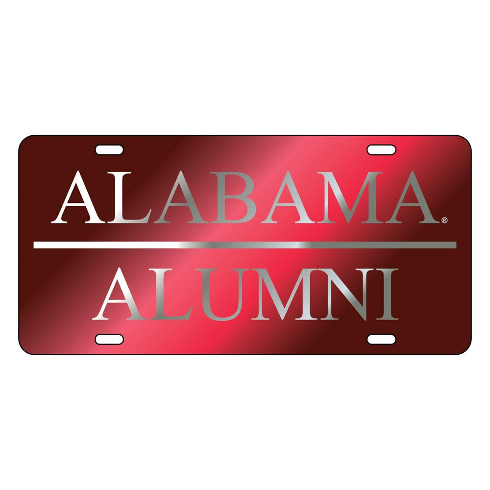 Alabama License Plate Crimson/Silver Alumni